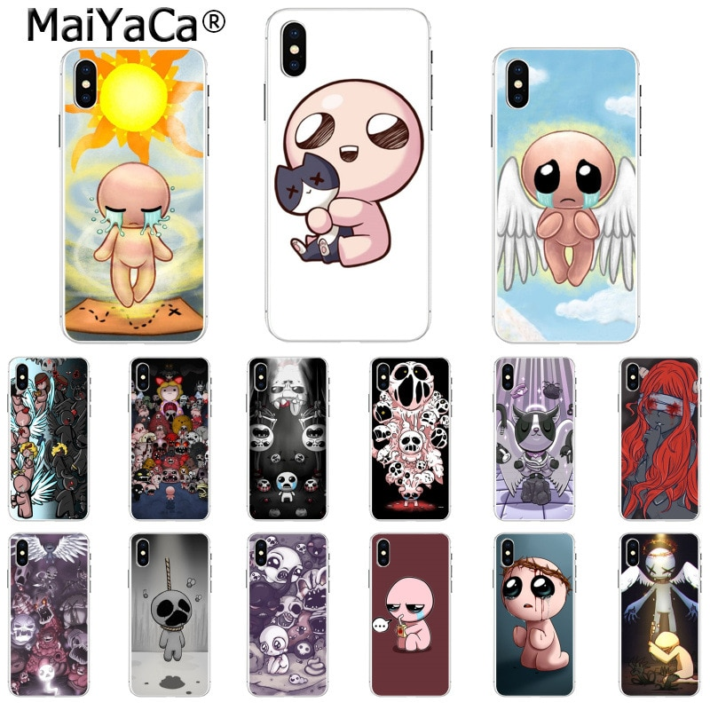 MaiYaCa the binding of isaac Black Soft Shell Phone Cover for Apple iPhone 8 7 6 6S Plus X XS MAX 5 5S SE XR Cover