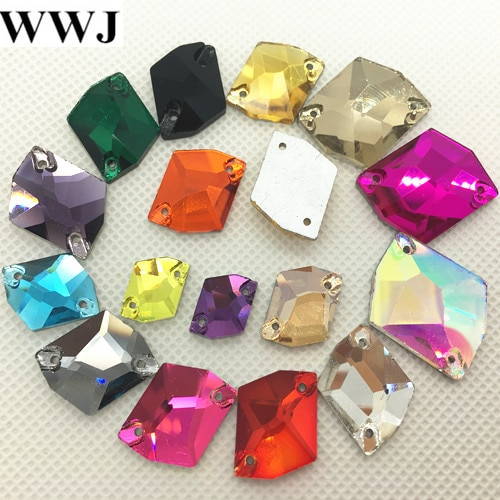Enlace 1: todas las tallas y colores 21x27,16x21,14x17,11x14,10x12 forma cósmica piedras de cristal de coser en vidrio reverso plano 2 agujeros para confección de ropa