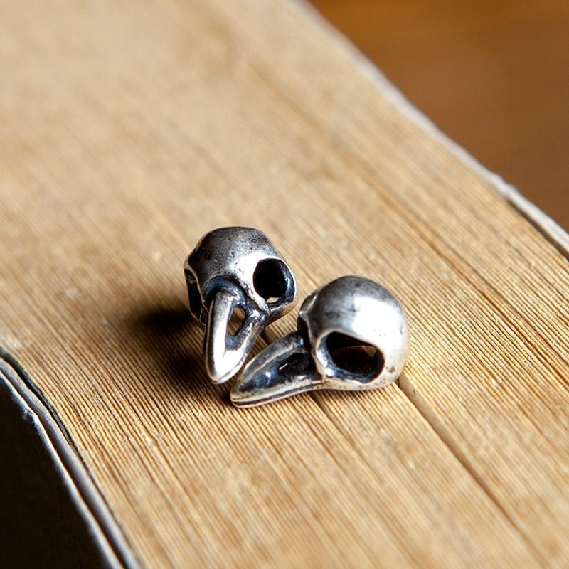Plata plata s925 plata pura Cuervo pájaro cabeza cráneo pendiente retro no convencionales personalidad alternativa adornos de plata