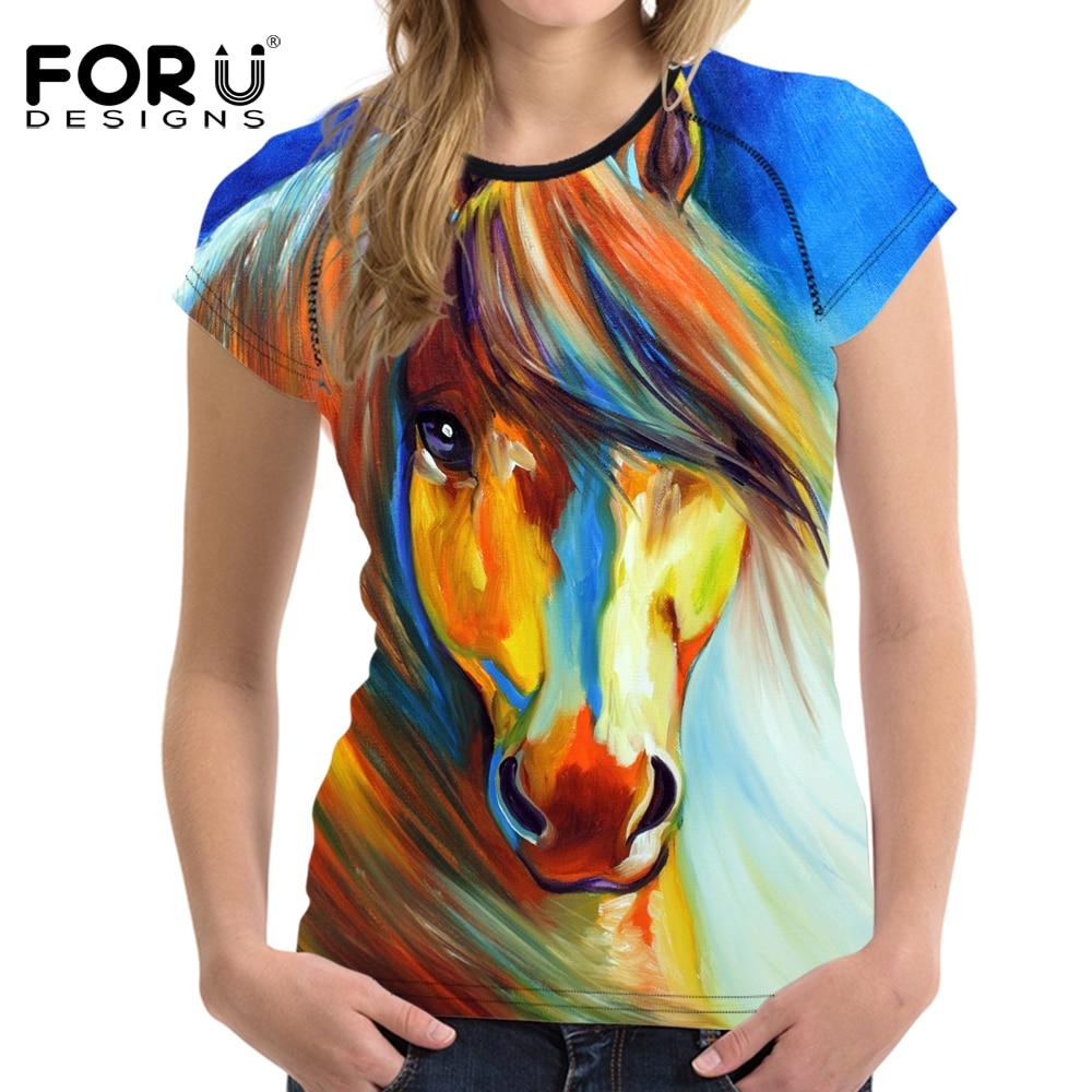 FORUDESIGNS 3D Crazy Horse Women T Shirt For Girls Summer Female Casual Shirt Short Sleeved Ladies T-shirts Woman Tops Feminine