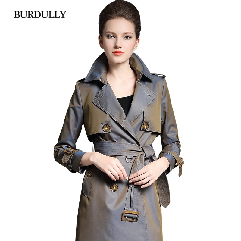 BURDULLY lujo Inglaterra largo doble Breasted gabardina mujer 2018 Otoño Invierno moda gabardina abrigo alta calidad mujer