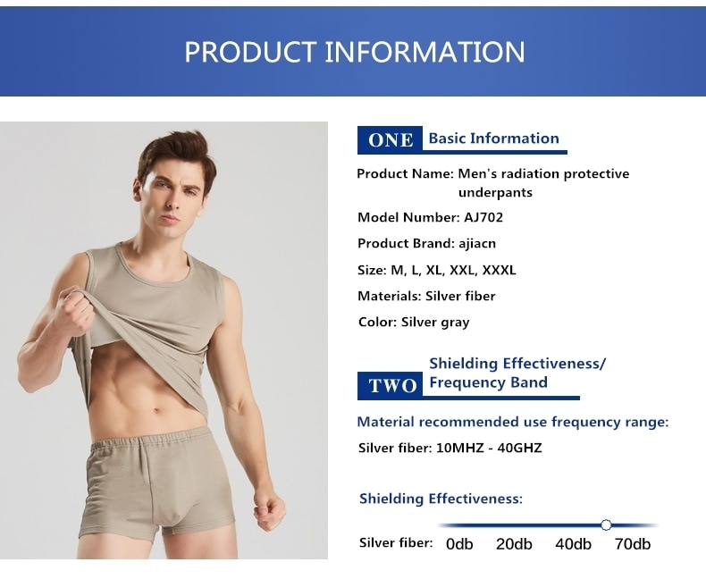 Ajiacn الكهرومغناطيسية مقاومة للإشعاع الرجال الملابس الداخلية ، EMF التدريع الملابس الداخلية ، فعالية التدريع: 10MHZ-40GHZ.