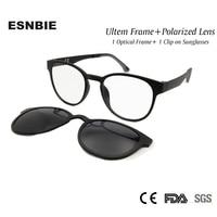 Женские и мужские солнцезащитные очки ESNBIE Ultem, поляризационные солнцезащитные очки с магнитной оправой, круглые очки в стиле ретро