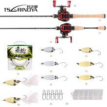 TSURINOYA для рыбалки комбинированное удилище + катушка + леска + коробка для наживки рыболовные снасти 1,89 м UL удочка для литья XF-50 катушка для лит...