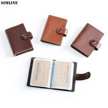 Genuine Leather Card Holder Men Women Vintage Handmade Short Business Mens Credit ID Card Holders Wallet Purse Case Card Sleeves