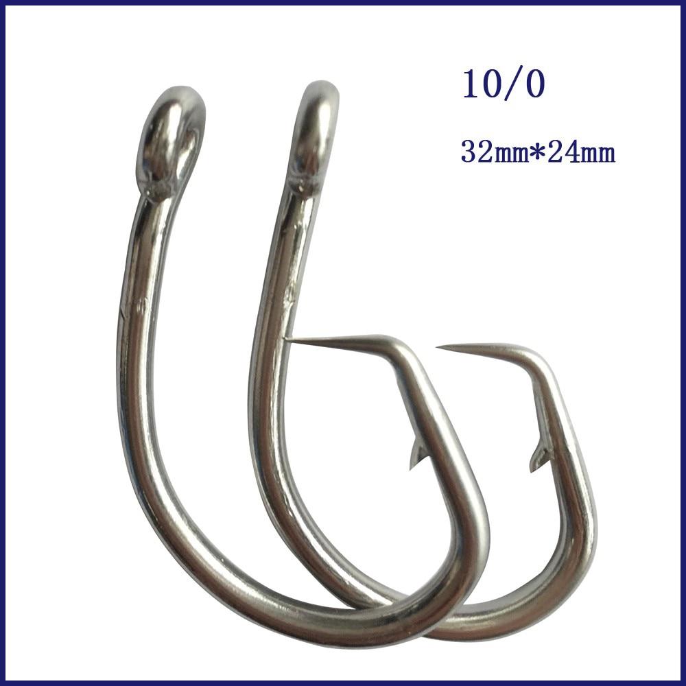 50 Uds. 10/0 Mustad, anzuelo de pesca circular de atún, anzuelo de pesca circular de acero inoxidable con púas gancho para pesca