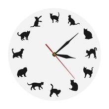 Настенные часы с кошачьими котятами Meow, разные позы, Настенный декор для девочек, современные настенные часы с изображением черных кошек и к...