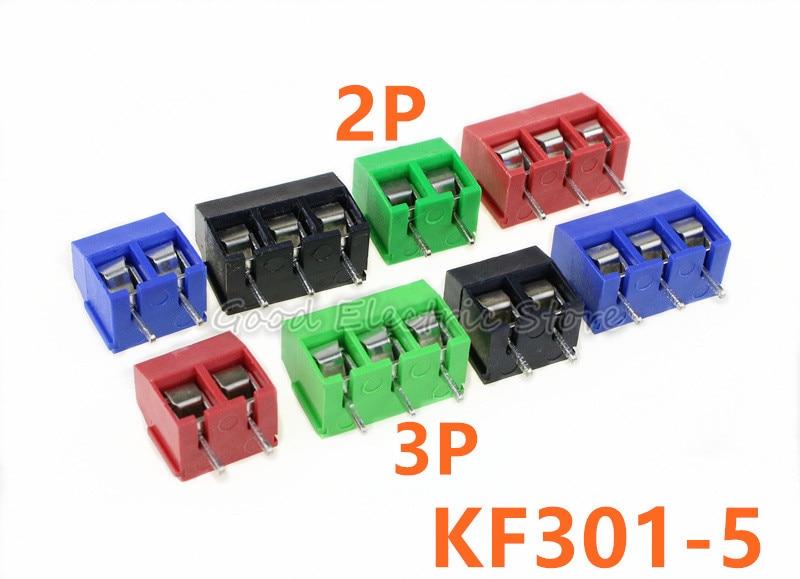 Freies verschiffen 20 teile/los KF301-5.0-2P KF301-3P Pitch 5,0mm Gerade Pin 2 P 3 P Schraube PCB Terminal Block Anschluss blau GRÜN ROT