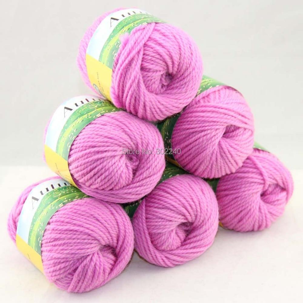 LOTE de 6 BallsX50g Chunky Gruesas tejidas A Mano Hilo de Tejer Iris rosa 204