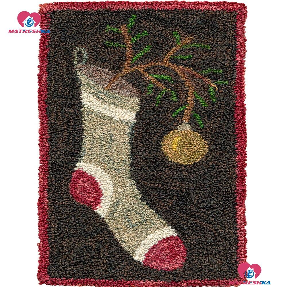 Kits de costura con aguja de lengüeta para alfombra kits de costura alfombra bordado calcetín de Navidad decoración alfombra de ganchillo hilado cojín alfombra hecha a mano
