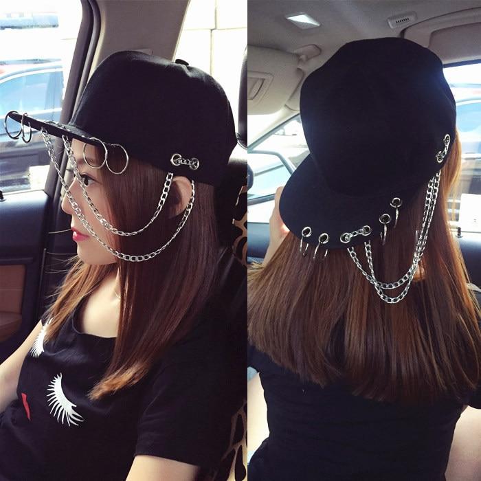 Harajuku SWAG Fashion Cadenas Remache Gorras de Béisbol de Hip Hop Sombrero Aro de hierro Casquillo Del Snapback de Trend Par Gorra de Béisbol de Baile Para mujeres