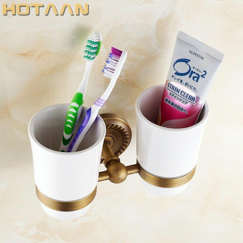 شحن مجاني الأزياء فرشاة الأسنان حامل ، النحاس النقي و الزجاج ، الكأس ، الحمام حامل الكأس الحمام مجموعة-بالجملة YT-12208