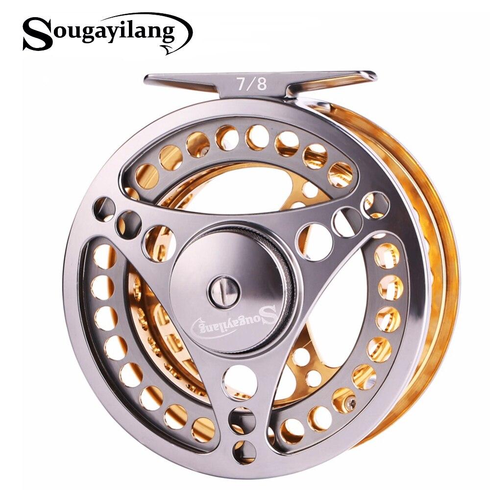Sougayilang 7/8 WT Fly Fishing Reel CNC Machine Cut Fishing Reel Large Arbor Die Casting Aluminum Fly Reel Wheel Fishing Tackle