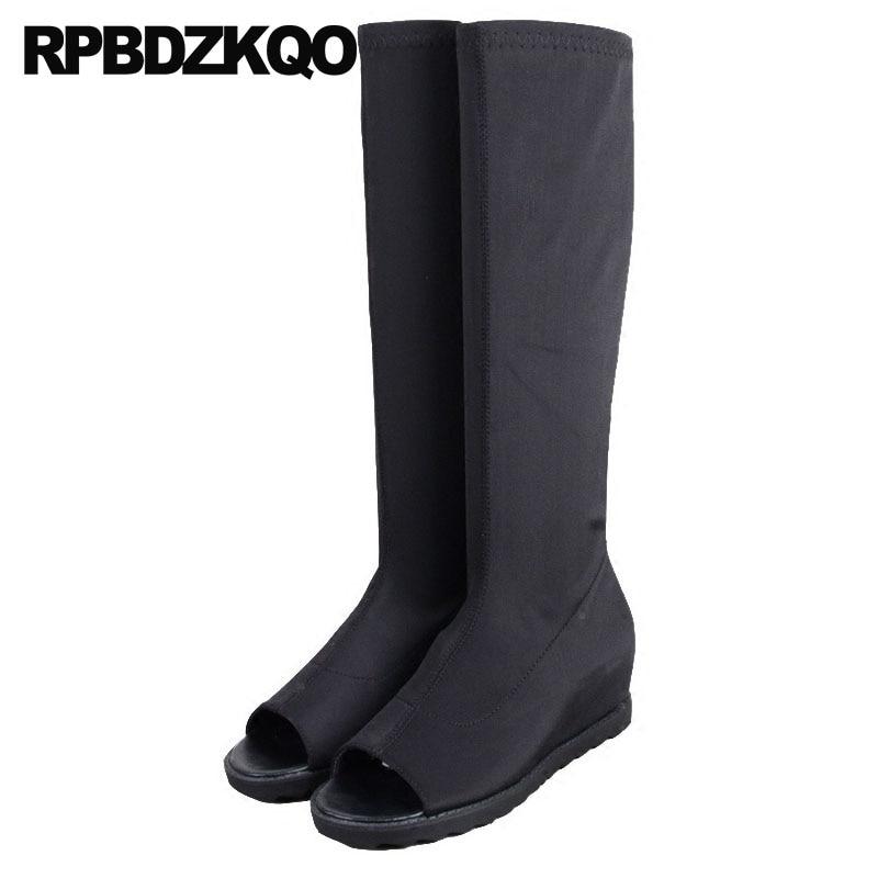 Zapatos de lujo para mujer, de marca de lycra, negros, largos, hasta la rodilla, ajustados, planos, altos, a la moda, con punta abierta y diseño elástico 2018