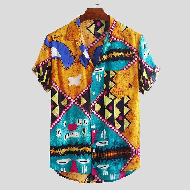 Nueva camisa a la moda para Hombre, ropa de calle estampada, Tops de manga corta con botones, camisetas hawaianas de playa de marca de alta calidad de verano para Hombre 2020