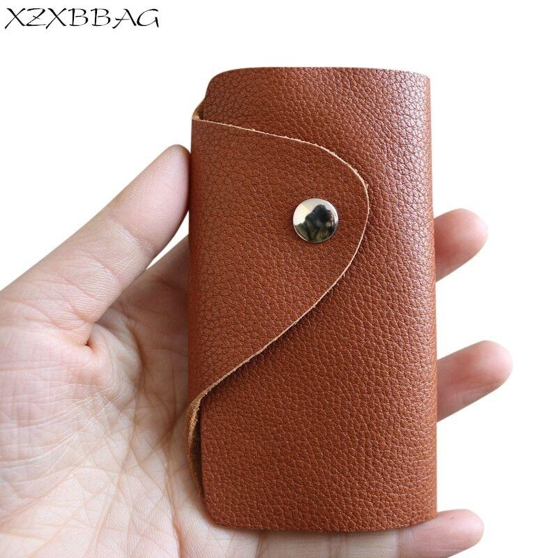 2020 New Genuine Leather Hasp Key Organizer Case Casual Key Holder Mini Hasp Key Bag Housekeeper Pou