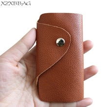 2020 New Genuine Leather Hasp Key Organizer Case Casual Key Holder Mini Hasp Key Bag Housekeeper Pou