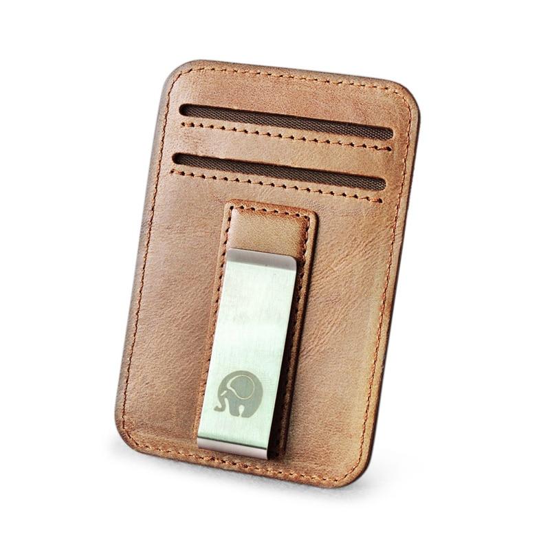 ¡Venta al por mayor! Clip de dinero de cuero genuino, Clip de Metal para tarjetas, billetera fina, Clips para billetes, pinza para dinero, billetera fina, soporte barato nuevo