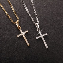 Mode femme croix pendentifs livraison directe or noir couleur acier inoxydable jésus croix pendentif collier bijoux pour hommes/femmes