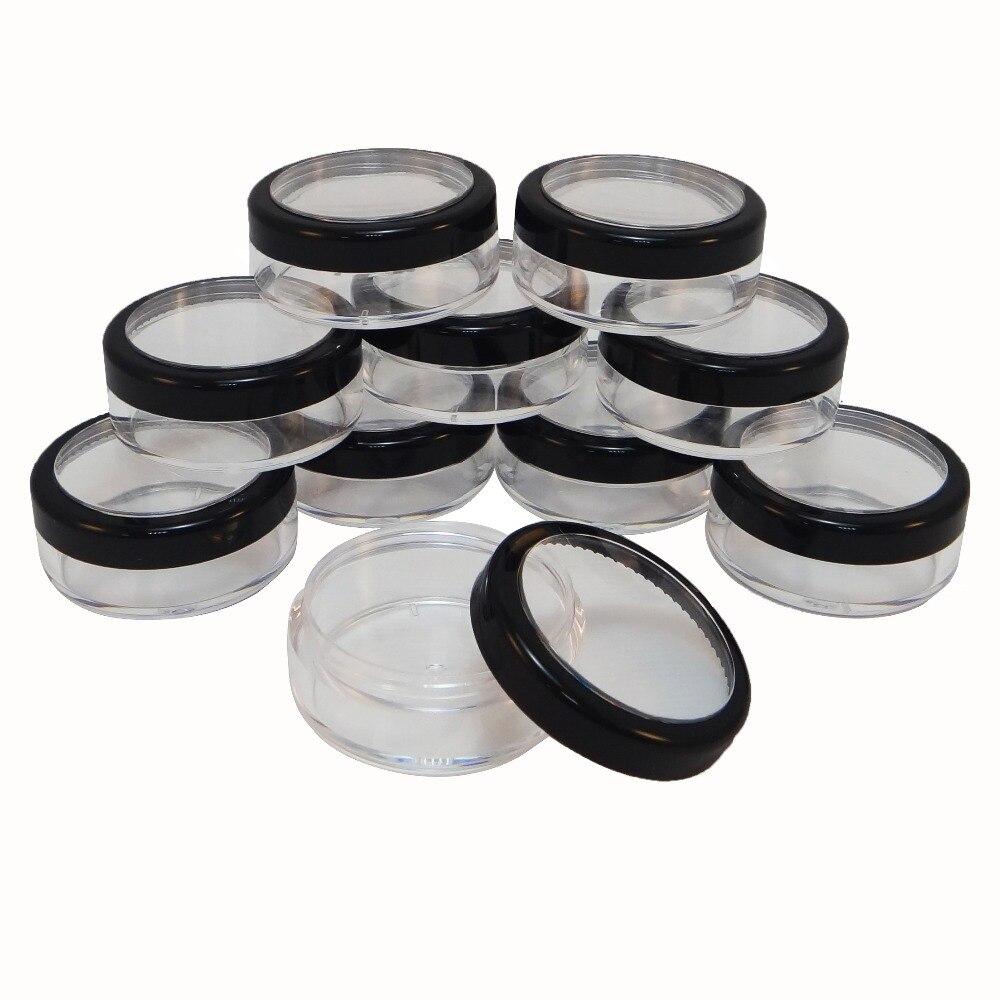 50 tarros de plástico a granel de almacenamiento 20 gr Ventana de borde negro Funda de tamaño de muestra de viaje (AY81 (20) (W)-C = 50 piezas)