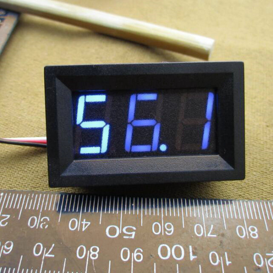 10 Uds LED vehículos Motor nuevo 0-100V azul Mini voltímetro Digital voltaje Panel Metro 48*29*21mm