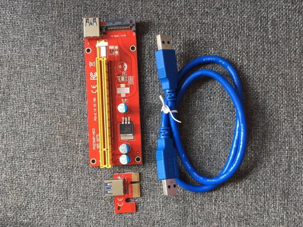 VER 007 S rojo PCI-E PCI E Express 1X a 16X tarjeta gráfica Riser tarjeta SATA cable USB 3,0 para Bitcoin Miner