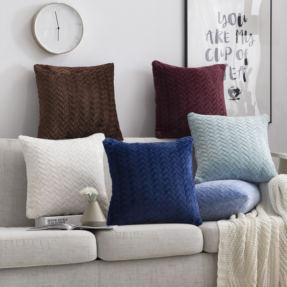 Cushion Cover 45*45cm Fur Decorative Pillows Home Velvet Pillow Case For Living Room Bedroom Throw Sofa Living Room Decoration
