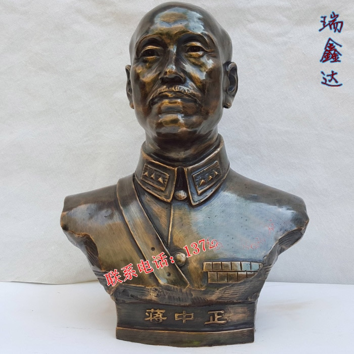 50 см Большой # TOP business ART # China Taiwan GUOMIN DANG leader jiang jieshi-jiang zhongzheng Бронзовая статуя портрета
