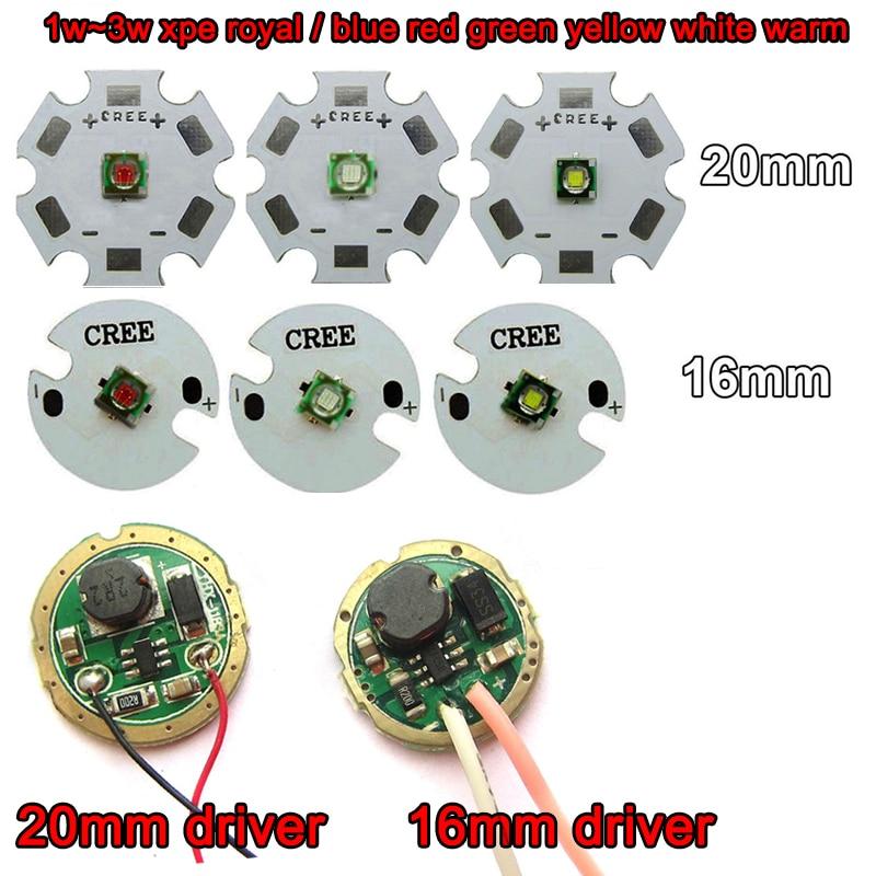 Cree XPE XP-E, 1 шт., 3 Вт, красный, зеленый, синий, желтый, Холодный/теплый белый светодиод с базой 20 мм/16 мм + 3 В, 3 Вт, 5 Вт, светодиодный драйвер