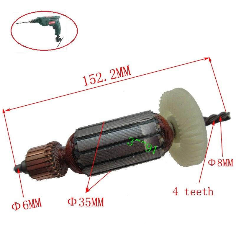 Motor de Rotor de armadura de repuesto AC220-240V para piezas de reparación de la máquina de taladro eléctrico portátil metabo BE560 BE561