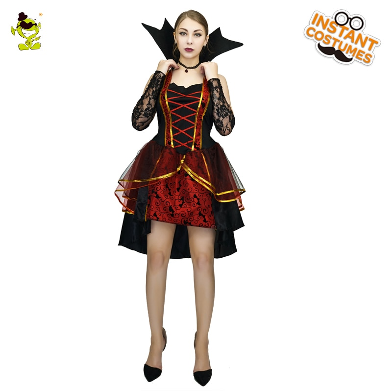 Halloween Women Vampire Costume Purim Role Play Outfits Cosplay Vampire Fancy Dress Up for Adult Female newly halloween female death dress terror skull role playing suit cloak stage costume for women te889