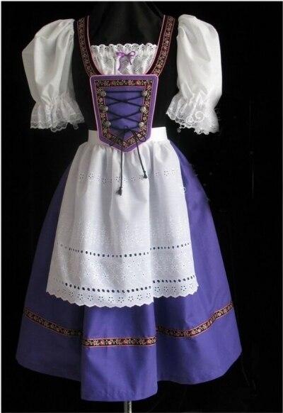 ¡Envío Gratis! Oktoberfest chica y cerveza criada Heidi vestido dirndl Bar chica largo púrpura vestido de lujo nuevo traje bávaro