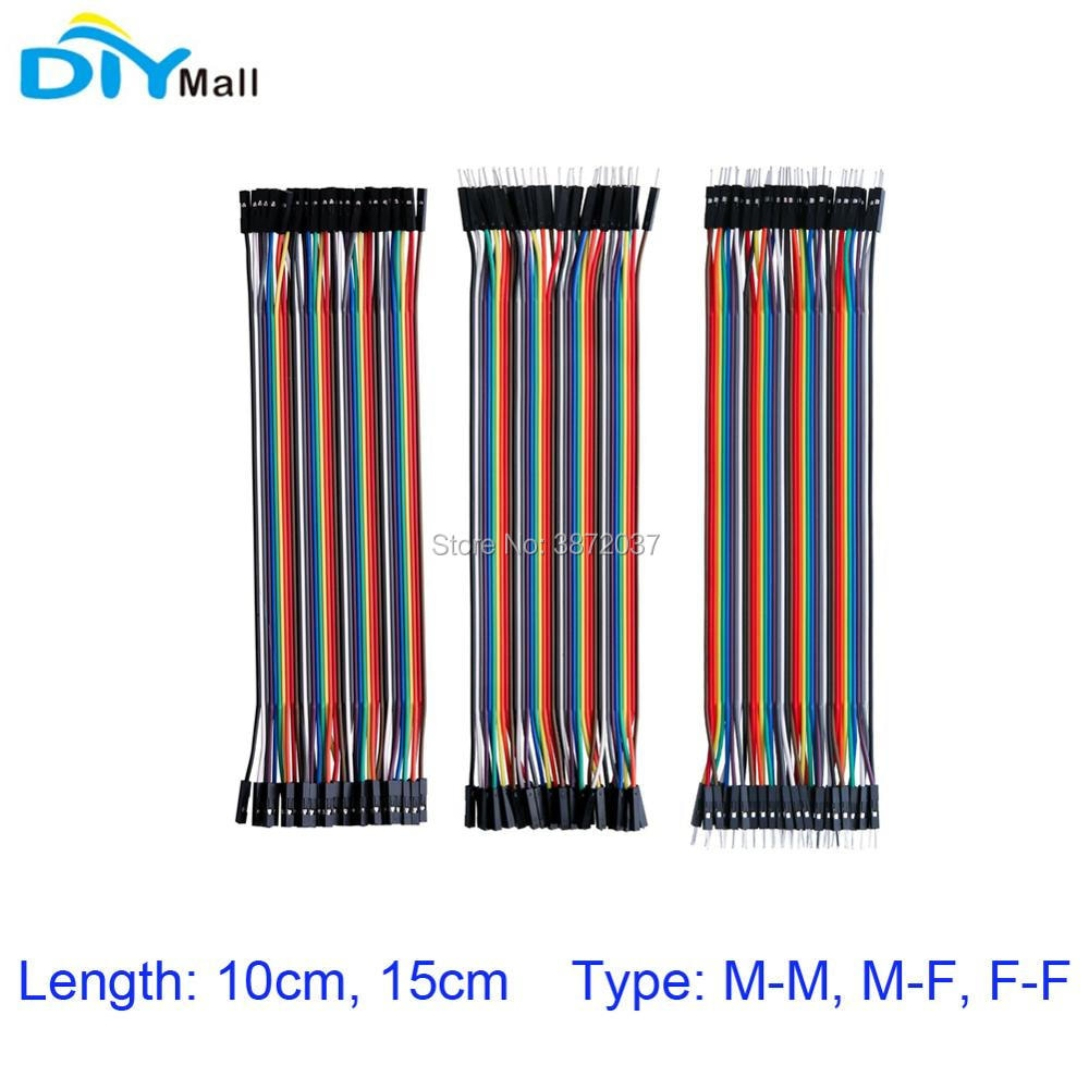 10pcs lot 5pin 100cm m m m f f f dupont cable jumper wires for electronic diy experiment breadboard for uno r3 kits 40Pin 2.54mm 10cm 15cm Breadboard Jumper Wire Dupont Cable Male to Male M-M Male to Female M-F Female to Female F-F for Arduino