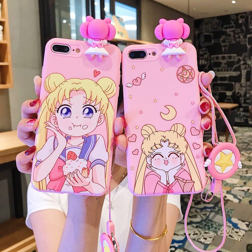 Para iphone X funda de teléfono móvil Sailor Moon Kawaii Pink Silicone Phone estuche con cordón para iphone 6 7 8 XR TPU funda suave