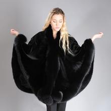 2019 BFFUR réel manteau de fourrure de renard pour femmes vison naturel manteau de fourrure Ponchos peau entière couverte Capes femmes hiver mode mince châle