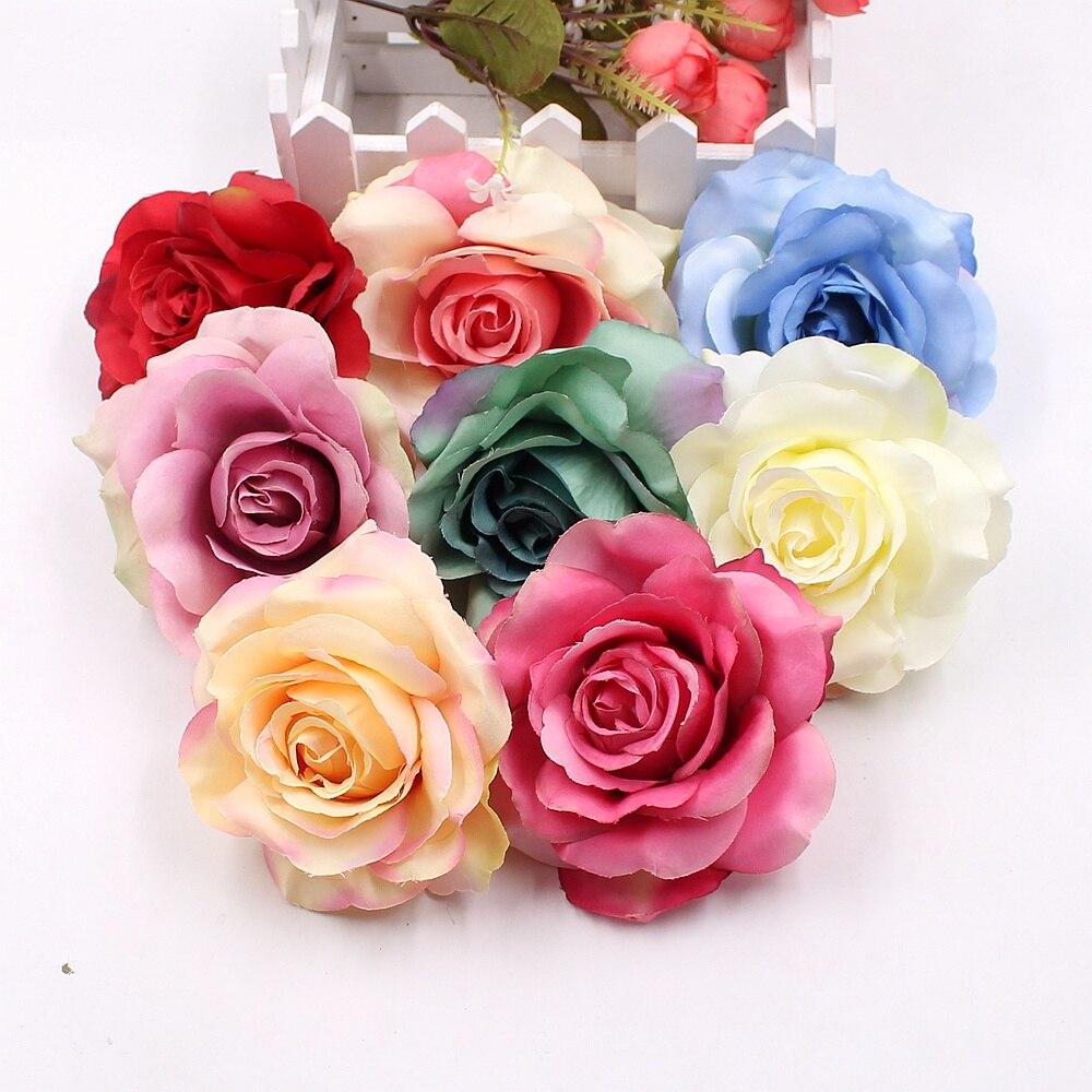 3 uds 10cm de alta calidad flores artificiales de seda Rosa flor boda hogar guirnalda de bricolaje decoración clip arte artesanal flor artesanal