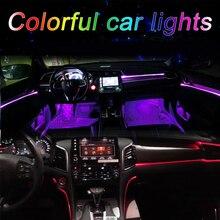 Sound Active-bande lumineuse RGB fil néon   EL, lumière dintérieur de voiture, Bluetooth multicolore, lumière dambiance de contrôle de téléphone 12V, Kit