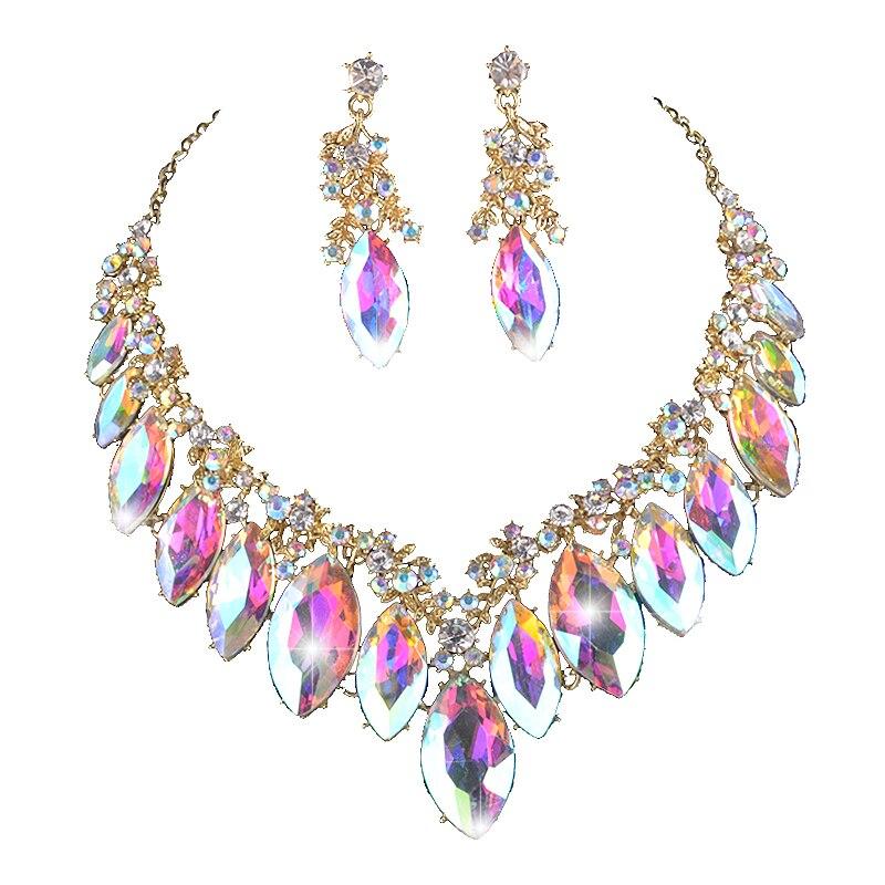 Наборы свадебных ювелирных изделий Marquise AB, цвета с кристаллами, для вечеринки, свадьбы, платья, ожерелий, серег, страз, рождественский подарок