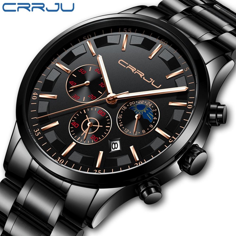 Relojes para hombre crrhu marca superior de lujo de moda de negocios reloj de cuarzo para hombre deportivo de acero completo impermeable reloj negro reloj Masculino
