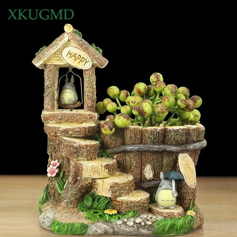 Totoro Resin Succulents Flowerpot Wood Tree Stump Maceteros Mini Plant Creative Flower Pot PotteryBonsai Fleshy Home Decoration