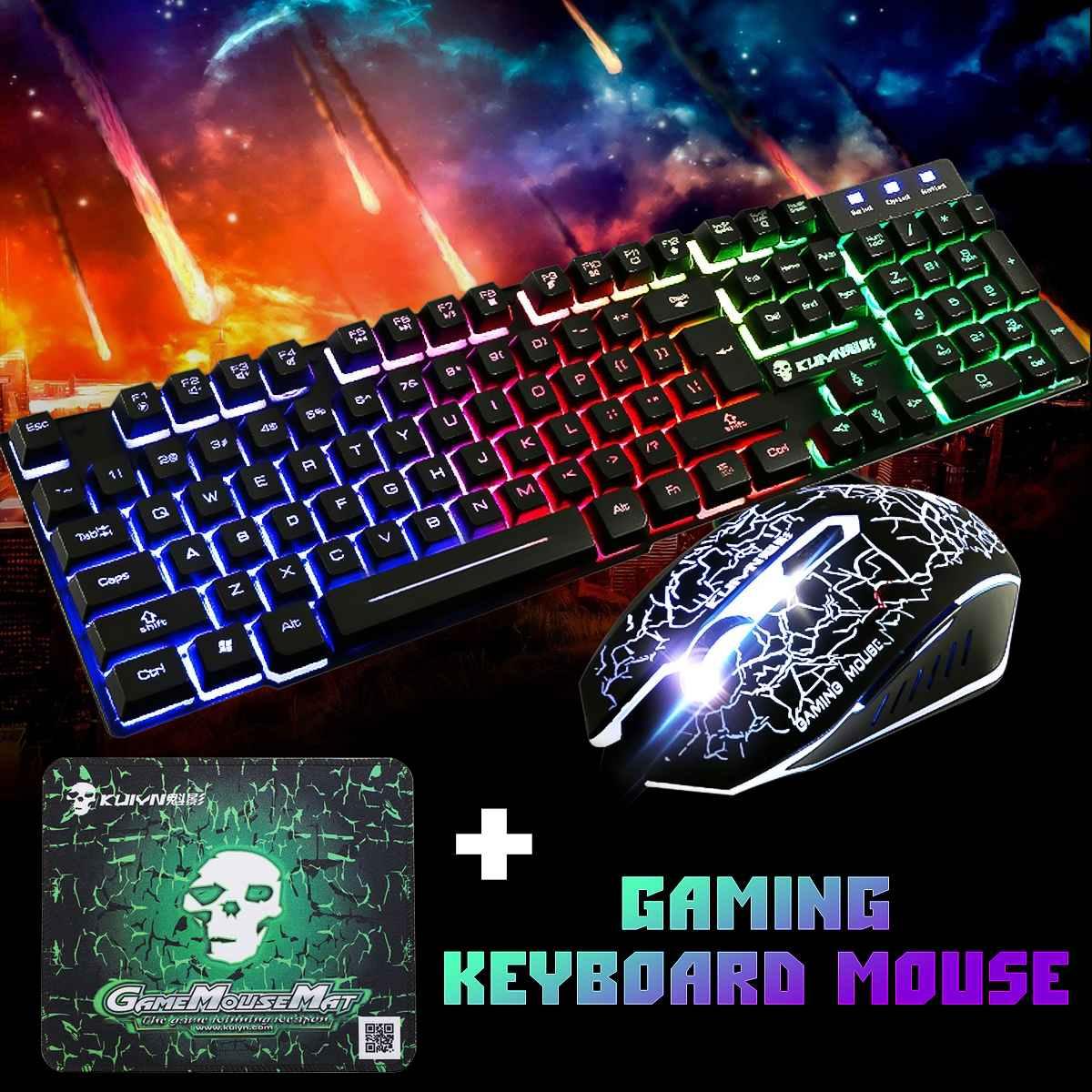 Teclado ergonómico de juegos por cable USB con retroiluminación LED de arco iris + Ratón de 2400DPI + juego de alfombrillas de ratón para PC ordenador portátil Gamer