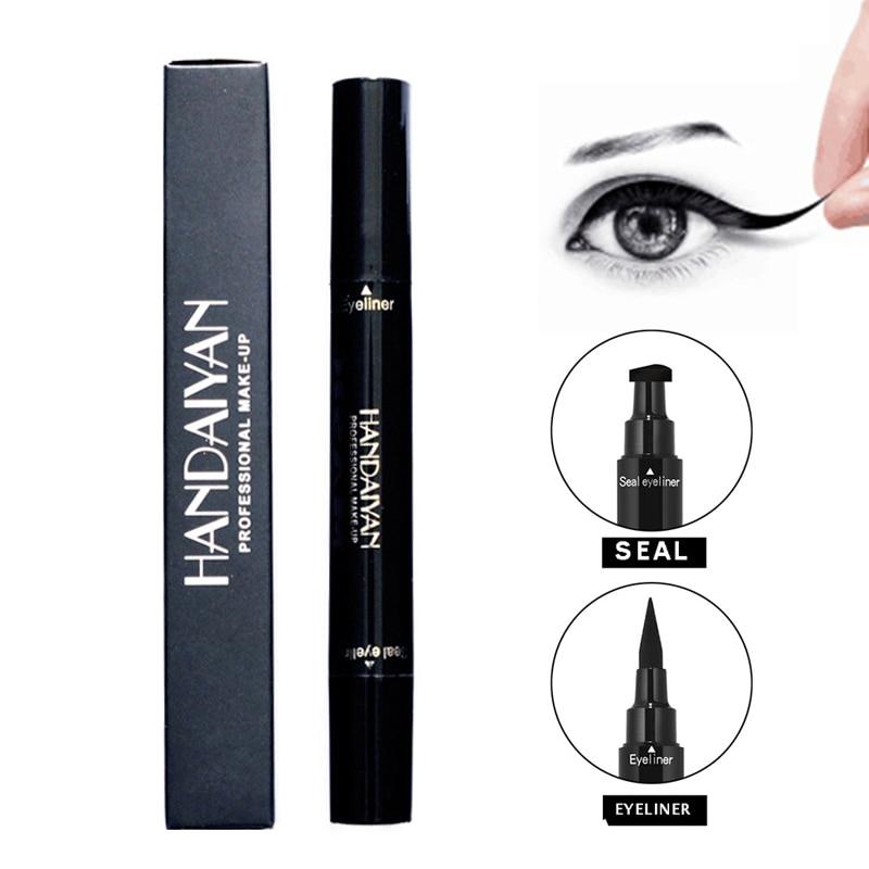 HANDAIYAN crayon à paupières à double extrémité noir imperméable à leau liquide avec joint de timbre facile à porter maquillage mignon TSLM1