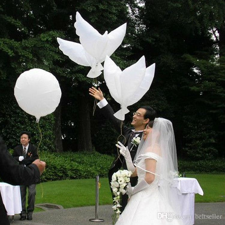 Biodegradável Pomba branca Balões de Hélio de Alumínio Infláveis Balões Foil Balão Pombo Da Paz Eco Friendly Wedding Party Decor