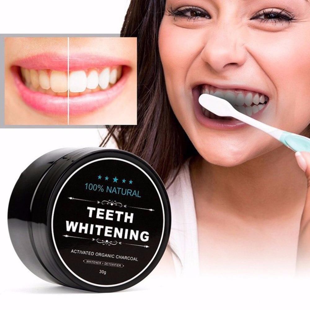 Gran oferta 30g 100% Natural blanqueamiento de dientes blanqueador activado carbón orgánico polvo para esmalte los dientes limpios Strengthe dientes salud C