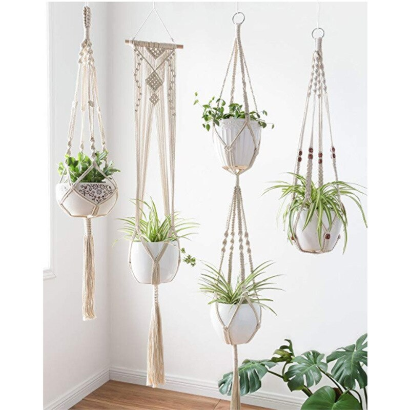 Macrame Flowerpot Hanging Basket Plant Hook Indoor and Outdoor Wall Weaving Hanging Home Decoration 4 Pcs Set Flowerpot Net Bag