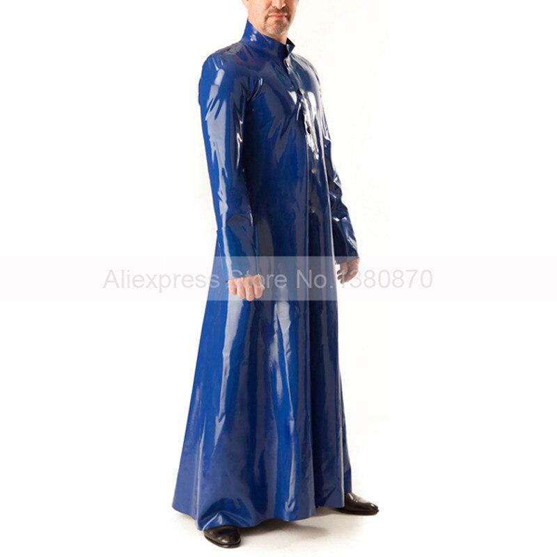 Traje largo de látex azul oscuro para hombre chaqueta rompevientos para hombre traje largo de látex gabardina S-LSW063