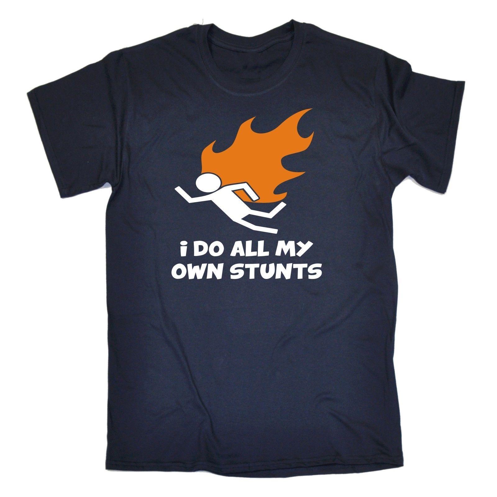 Я делаю все мои собственные трюки пламени футболка огонь каскадер смешной