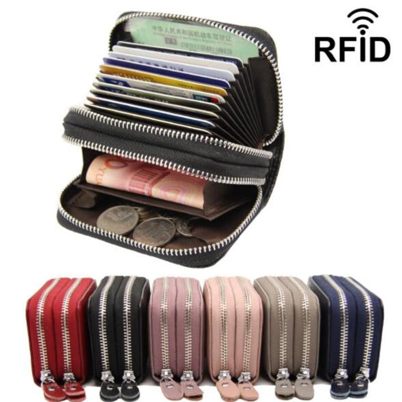 Carteira de couro legítimo porta-cartões, bolsa com zíper duplo para cartões de créditos e identidade rfid, vermelha rosa rosa