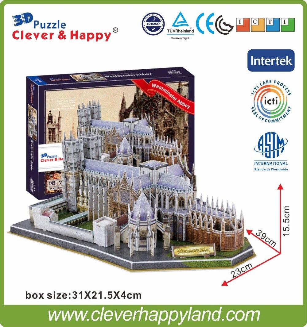 Nuevo inteligente y la feliz tierra 3d rompecabezas Modelo de la Abadía de Westminster rompecabezas de papel diy modelo de Varsovia de juegos para los niños de papel
