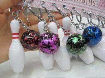 100pcs Bowling bag plastic Pendant mini Bowling ball keychain advertisement key chain fans souvenirs key ring School gifts